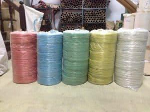 เชือกฟาง เกรดรีไซเคิล 5 สี ถุงละ 6 ม้วน เชือกฟางน้ำหนัก 1 กิโลกรัม/ม้วน